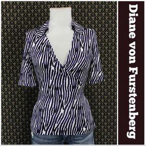Diane von Furstenberg Silk Jersey Wrap Shirt